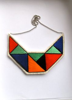 #Textile #necklace embroidered geometric by AnAstridEndeavor on @Etsy