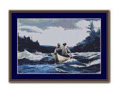 Canoe in the Rapids Cross Stitch Pattern / Chart, US Fine Art, Instant Digital Download, Winslow Homer (AP457) Cross Stitch Designs, Cross Stitch Patterns, Winslow Homer, Dmc Floss, Digital Pattern, Canoe, American Art, Printmaking, Colours