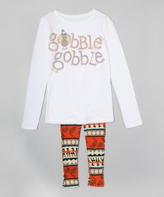 Look at this White 'Gobble' Tee & Orange Geometric Leggings - Toddler & Girls on #zulily today!