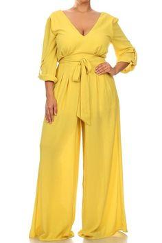 Plus Size It Goes On Jumpsuit-Gold from Elohai Plus Size Boutique