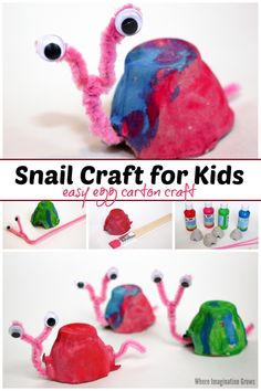 Fun egg carton snail craft for kids! A simple preschool craft that kids can make for bug or spring-themed projects. Adorable recycled materials craft! #preschoolcrafts #craftsforkids #kidscrafts #springcrafts #recycledmaterials #ece Easy Preschool Crafts, Preschool Art Activities, Recycled Crafts Kids, Toddler Crafts, Indoor Activities, Summer Activities, Family Activities, Animal Crafts For Kids, Diy Crafts For Kids