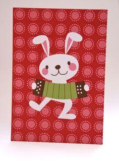 Postcard Bunny with accordion