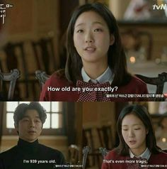 Goblin the lonely and great God. my new fav kdrama 😍.kim shin and eun tak 😙 New Korean Drama, Korean Drama Funny, Goblin Korean Drama, Korean Drama Stars, Korean Drama Series, Korean Drama Quotes, Korean Dramas, Korean Star, K Drama