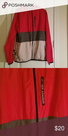 EUC Under Armour lightweight jacket for men Under Armour lightweight wind breaker coat for men in red, gray and white...great condition!! Open to any reasonable offers, will make deals on bundles ?? Under Armour Jackets & Coats Lightweight & Shirt Jackets