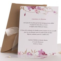 Carte invitation mariage romantique