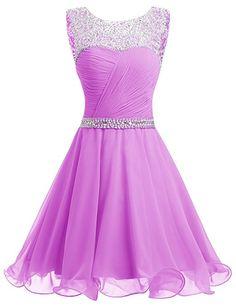 Dresstells® Short Chiffon Open Back Prom Dress With Beading Homecoming Dress White Size 6: Amazon.co.uk: Clothing