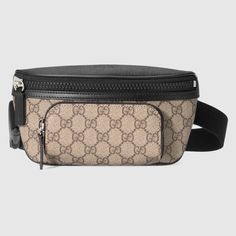Shop the GG Supreme belt bag by Gucci. GG Supreme canvas belt bag, finished with black leather details and rubberized hardware. Leather Fanny Pack, Leather Belt Bag, Leather Men, Black Leather, Leather Handbags, Chloe Bag, Brown Crossbody Bag, Leather Crossbody, Gucci Crossbody