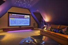 Incredible Loft Cinema Conversion: New Wave AV modern media room . - Incredible Loft Cinema Conversion: New Wave AV& modern media room - Attic Game Room, Loft Room, Attic Rooms, Attic Spaces, Attic Media Room, Attic Playroom, Attic Bathroom, Tv Rooms, Movie Rooms