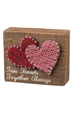 shipping and returns on Primitives by Kathy Two Hearts String Art Box Sign at . Natural string is wrapped around silvery nails to form a country-chic heart design on a rustic wooden box sign stamped with the words 'Two Hearts Together Always. String Art Diy, String Art Heart, String Crafts, Heart Art, String Art Templates, String Art Patterns, Valentine Box, Valentine Day Crafts, Arte Linear