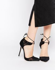 0eedc88b3a9 Black Suede Lace Up Heels - ShopStyle UK