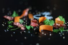 Seared beef with carrots