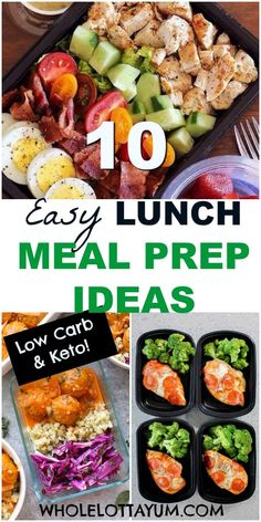 10 Low Carb Lunch Meal Prep Ideas 10 easy low carb and keto meal prep ideas for lunch! Whether you need keto lunch ideas for work or a low carb protein box ideas for when you're on the go, these healthy meal prep lunches will help you. Low Carb Protein, Healthy Protein, Low Carb Diet, Protein Box, Meal Prep Low Carb, Meal Prep For The Week Low Carb, Protein Lunch, High Protein, Meal Prep For Work