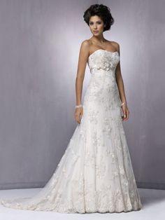Slida/Kolumn Applique Lace Hjärtformad rmlös Court Släp Wedding Dresses