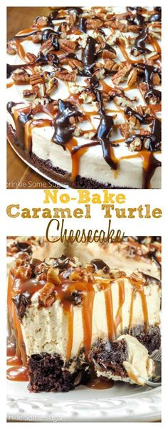 No-Bake Caramel Turtle Cheesecake. This cheesecake is super creamy, rich and dec… No-Bake Caramel Turtle Cheesecake. This cheesecake is super creamy, rich and decadent with a fudgy brownie bottom. I guarantee you'd never know it was no-bake! Brownie Desserts, Just Desserts, Delicious Desserts, Dessert Recipes, Yummy Food, Brownie Cheesecake, Turtle Cheesecake Recipes, Health Desserts, Cheesecake Desserts