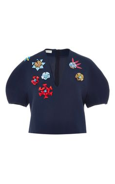 """Oragami magic. """"Puffed sleeves"""" without the gathers. Love. Modern-day Anne of Green Gables. :) Sew with Threadhead TV. ~Flower Embellished Cropped Blouse by DELPOZO Now Available on Moda Operandi"""