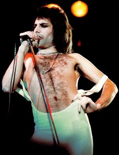 "Freddie Mercury iconic stage presence - 70s fashion Oh heck no, the 70s wasn't screwed up.  This is the ""good old days"""