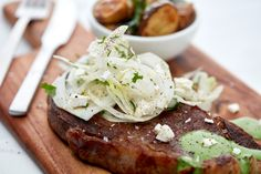 Steak with Sauce Verde, Roast Potatoes and Fennel Salad
