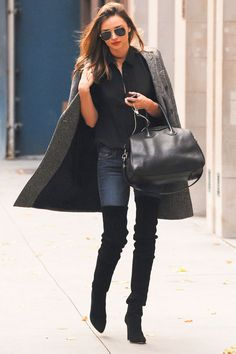 Miranda Kerr in Stella McCartney coat / Antigona Givenchy bag / Oliver Peoples sunglasses / Balmain shoes