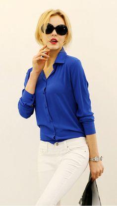 Легкая шифоновая блуза с длинным рукавом.