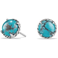 David Yurman Chatelaine Earrings with Turquoise ($415) ❤ liked on Polyvore featuring jewelry, earrings, apparel & accessories, turquoise, david yurman jewelry, post earrings, david yurman, turquoise jewelry y turquoise jewellery