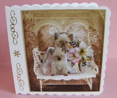 Waiting Cute Kittens Topper with Decoupage on Craftsuprint designed by Barbara Hiebert - made by Diana Holmes - Printed onto glossy photo paper and cut out all the pieces (nice and easy as there are no fiddly bits), I attached the main image to a scalloped edge card using DST and added the other layers with 2mm foam pads, I finished off by adding gold peel offs down the edge.This is a lovely design suitable for various occasions.  - Now available for download!