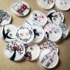 Shrinky Dink Buttons - stamp for perfect card and scrapbooking accents!  ScissorsPaperWok.com
