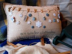 My Winter Clothesline Pillow Cottage Style by PillowCottage, $25.00