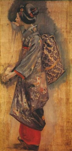 Telling an Ancient Romance: Seiki Kuroda Japanese 1866 - 1924 Japanese Art Modern, Japanese Painting, Japanese Prints, Ancient Japanese Art, Geisha Kunst, Geisha Art, Japanese Illustration, Illustration Art, Sketches