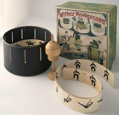 """Zoetrope -  """"The Whitte's Moviescope"""" is called """"4 in 1"""" because it can be used in a number of ways. The wooden spindle can be used in several configurations so that it can be handheld or sit on the record player at different heights."""