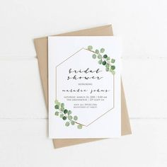 Simple Baby Shower Invitation, Greenery Bridal Shower, Modern Gender Neutral Printable Invite, Green Eucalyptus Wedding, Spring PLEASE NOTE: This item is a DIGITAL FILE. You are purchasing a digital file only. No physical item will be shipped. No printed materials are included. #modernbridalshowerinvitations