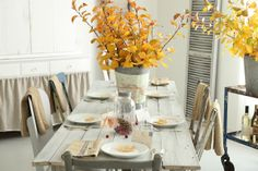French Larkspur Autumn Table Decor