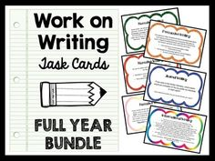 Work on Writing :: Perfect for Daily Five (5) or literacy centers! Set of 26 Work on Writing task cards for upper elementary grades all themed for WINTER! There are  over 150  for narrative, journal writing, informational, and persuasive writing themed for back to school, Halloween, Christmas/holidays, winter, spring, and end of the year as well as general non-themed cards!