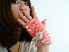 Peachy Pink and Cream Stripe Two-toned Fingerless Mittens with Bow and Vintage Buttons