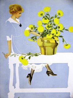 Coles Phillips FADEAWAY GIRL TRIMS VASE oF YELLOW FLOWERS 1912 Antique Print Mat #Vintage