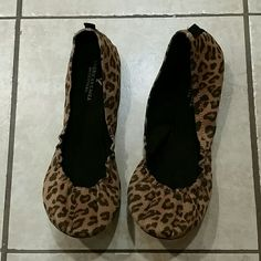 American Eagle Cheetah Ballet Flats Practically brand new. Never worn outside. Put them l  a few times to match with outfits but never decided to wear them. Size 10. Super cute.  Dog household. Non-smoking household. American Eagle Outfitters Shoes Flats & Loafers