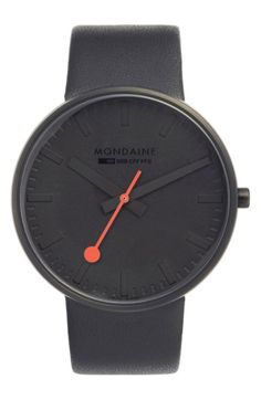 Free shipping and returns on Mondaine 'Evo' Leather Strap Watch, 42mm at Nordstrom.com. A sleek, lugless case emphasizes the clean, minimalist aesthetic of a stainless steel round watch powered by a fine Swiss movement. A red, sweeping second hand adds a pop of color to the dial, while a smooth leather strap provides a fitting finish to the understated design.