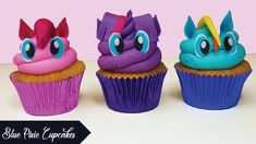 In this tutorial, I show you how to make these cute My Little Pony Cupcakes, staring Pinkie Pie, Rainbow Dash and Twilight Sparkle. Cousin Birthday, My Little Pony Birthday Party, Rainbow Birthday, 3rd Birthday Parties, Birthday Cupcakes, Birthday Ideas, Pony Party, My Little Pony Cupcakes, Cupcake Cakes