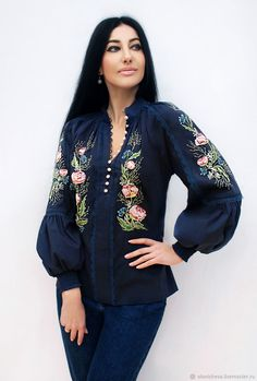 Luxurious blue blouse with hand embroidery 'Lace flowers'. Online shopping on My Livemaster. Muslim Fashion, Ethnic Fashion, Hijab Fashion, Fashion Outfits, Womens Fashion, Blouse Dress, I Dress, Blue Blouse, Chemises Country