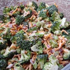 Skinny Broccoli Salad -Without the peppers and onions and this would probably be amazing.