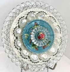 Vintage Clear Glass and White Ceramic Flower Art