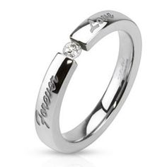 """Forever Love"" Engraved Stainless Steel Band Ring with Tension set CZ-WildKlass Jewelry Skull Fashion, Mens Fashion, Biker Style, Stainless Steel Jewelry, Band Rings, Fashion Rings, Rings For Men, Wedding Rings, Engagement Rings"