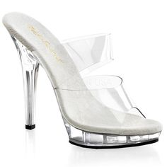 LIP-102 Fabulicious Sexy Shoes 5 Inch Stiletto Heel Two-Band Platforms Slide…