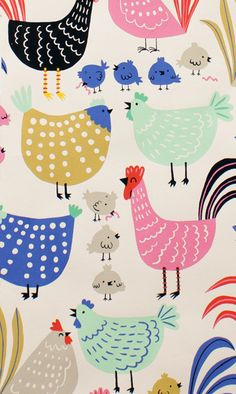 Cluck Cluck from In the Kitchen by Alexander Henry Chicken Illustration, Easter Illustration, Bird Patterns, Fabric Patterns, Print Patterns, Collage Kunst, Chicken Art, Alexander Henry, Stuffed Animal Patterns