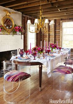 A Major Renovation Didn't Stop This Glam Dinner Party -- check out the LuciteLux® chairs!