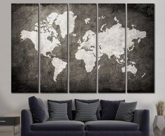 LARGE World Map Canvas Print Wall Art / 1,3 or 5 Panel Art Extra Large World Map on Canvas Wall Art / Living Room, Home & Office Decoration by ZellartCo on Etsy https://www.etsy.com/listing/288369053/large-world-map-canvas-print-wall-art-13
