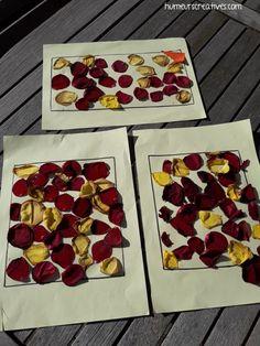 collage de pétales de roses, activité enfant, printemps, été, collage fleurs