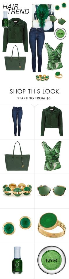 """""""Green Hair Trend"""" by martina-b33 ❤ liked on Polyvore featuring beauty, Topshop, Yves Saint Laurent, MICHAEL Michael Kors, Dolce&Gabbana, Chloé, Christian Dior, Effy Jewelry, hairtrend and rainbowhair"""