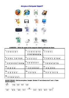 A fun puzzle I created for my Information and Communications Technology students.  Students must identify the parts of a computer and solve the mys...