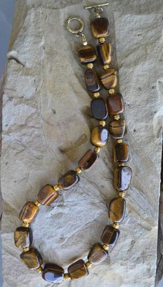 Tiger Eye Necklace, Large Beads Necklace, Tiger Eye, Tribal Tiger Eye Necklace, Ethnic, Beaded (508) by LKArtChic on Etsy