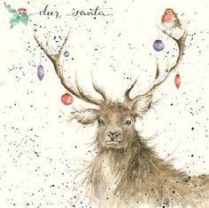 Wrendale Designs Christmas Card NEW Deer Santa baubles robin Christmas Deer, Christmas Animals, Christmas Pictures, Vintage Christmas, Christmas Crafts, Animal Paintings, Animal Drawings, Wrendale Designs, Christmas Paintings